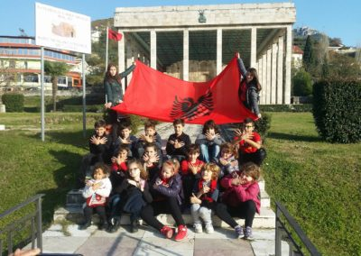 AIS at Skanderbeg Tomb with albanian flag
