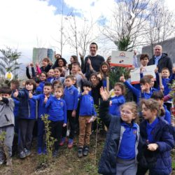 Planting tree with Tirana Mayor